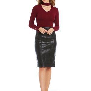 Ivanka Trump Faux Leather Seamed Pencil Skirt